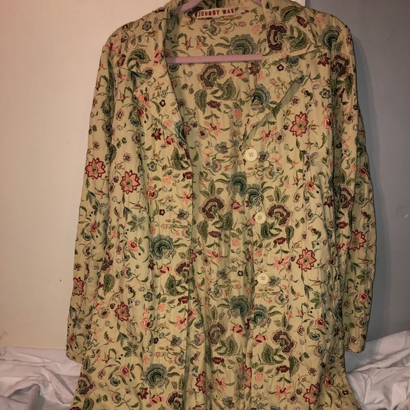 Johnny Was Jackets & Blazers - JOHNNY WAS Embroidered Floral Duster M